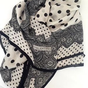 Valentino Silk Scarf with Polka Dot and Lace Print